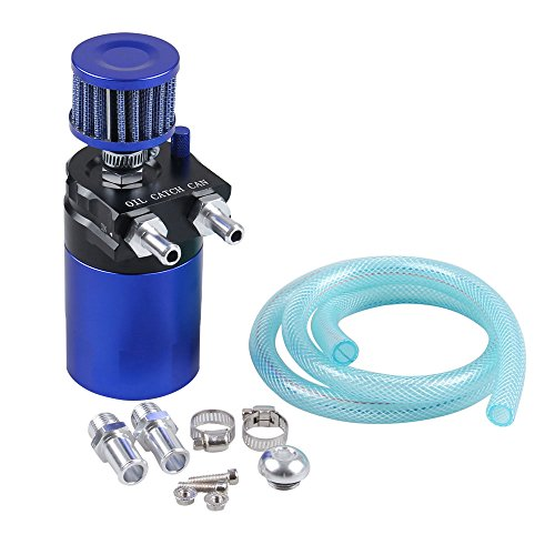 Ruien Polish Baffled Universal Aluminum Oil Catch Can Reservoir Tank With Breather Filter Black+Blue by Ruien