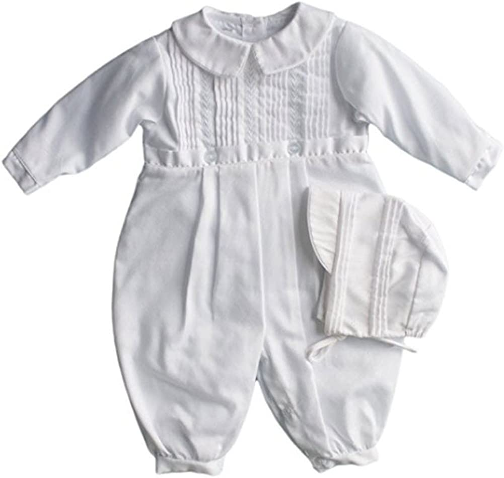 White Petit Ami Baby Boys Pique Christening Longall with Hat