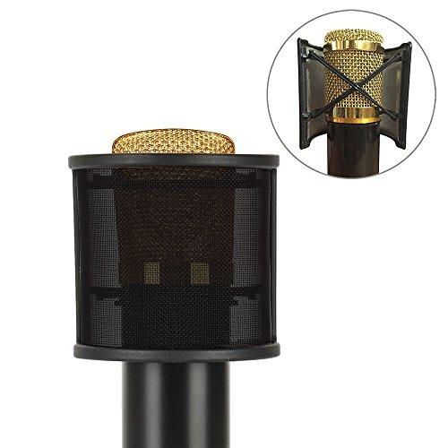 Sywon Metal Mesh and Foam Layer Mic Cover Handheld Microphone Pop Filter Windscreen Wind Screen Studio Shield Mount, Black - Image 6