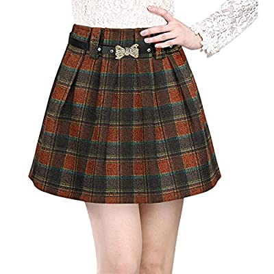 Wincolor Women's Wool A-line Plaid Pleated Mini Tartan Skirt Boyleg Short