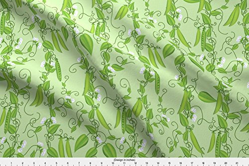 Rambling Vine (Pea Fabric Pea Vines Rambling Over Green by Diane555 Printed on Eco Canvas Fabric by the Yard by Spoonflower)