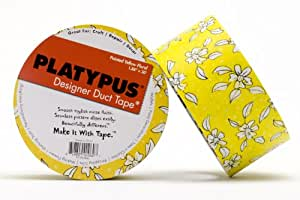 Platypus Designer Duct Tape, Painted Yellow Floral