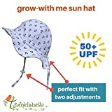 Twinklebelle Children's Cotton Sun Protective Hats 50 UPF, Adjustable, Stay-On, Packable (L: 2-12Y, Floppy Hat: Retro Rose)