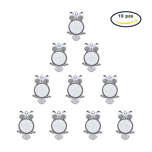 Vintage Glass Cabochons - PH PandaHall 10 Pcs Vintage Tibetan Style Alloy Owl Pendant Cabochon Bezel Settings, Antique Silver, Flat Round Tray: 25mm; Fit for 3mm Rhinestone; 55x30x2mm, Hole: 3mm