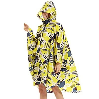 Buauty Hiking Rain Poncho Rian Coat for Adults Men Yellow: Clothing