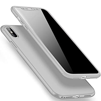 SainCat Funda iPhone X, 360 Grados Cobertura para Ambas Caras Carcasa 3 en 1 Ultra-Delgado PC Cubierta Funda iPhone X Slim Fundas para iPhone X-Silver
