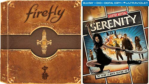 Josh Whedon's Cult Classic Series Firefly The Complete Series 15th Anniversary Collector's Edition & Serenity Limited Steelbook Blu-ray Bundle