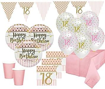 Xl 44 Teile Pink Chic Party Deko Set Zum 18 Geburtstag In Rosa Und