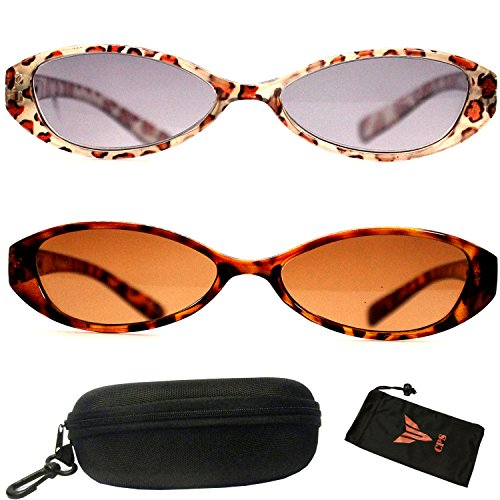 2Pairs Spring Temple Retro Slim Cat Eyes Translucent Pattern Sun-Reader Sunglasses + Reading Glasses (Strength: - Sun Glasses Discount
