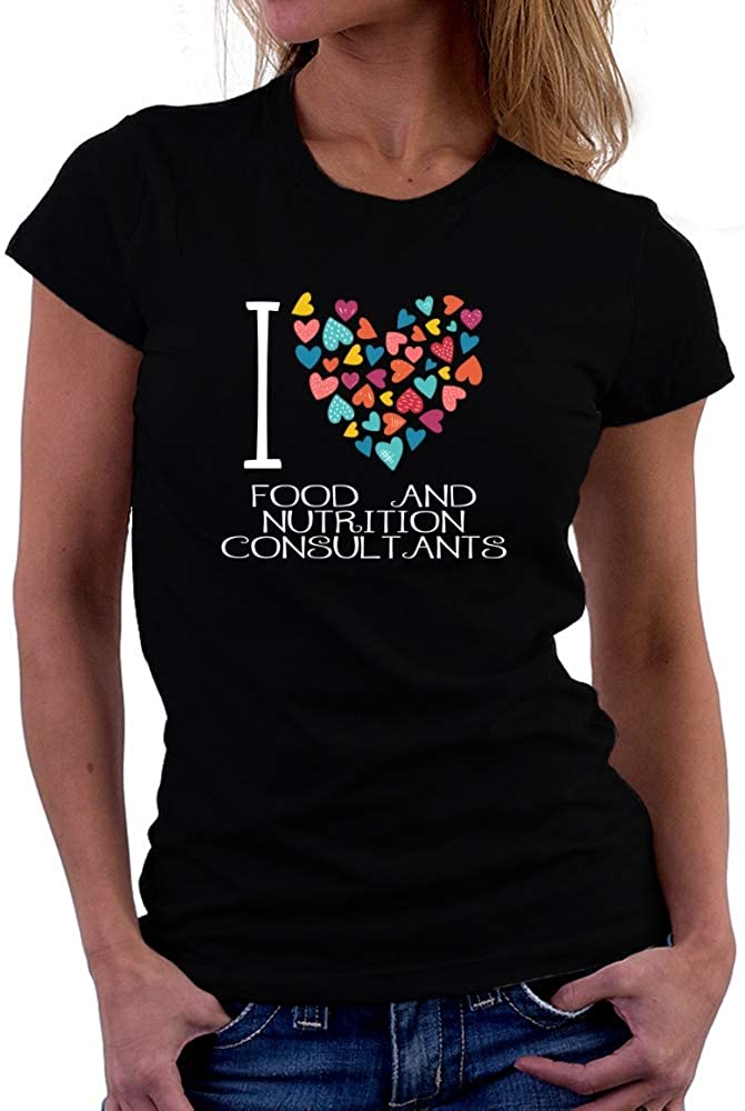 Teeburon I Love Food and Nutrition Consultants Colorful Hearts Women T-Shirt