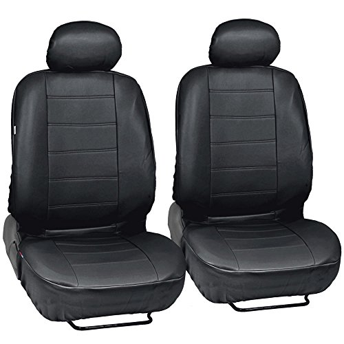 Custom Auto Crews - Black PU Leather Seat Covers Front Pair Set of 2 - Leatherette Grade