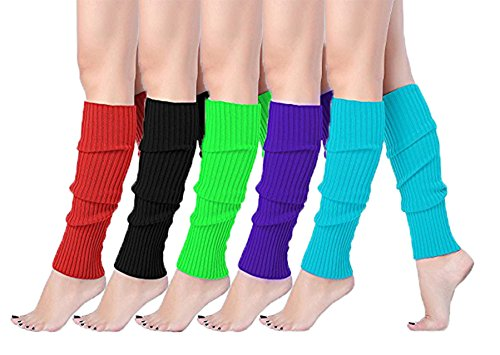 Leg Warmers In The 80s (V28Women Winter 80s Eighty's Warm Leg Warmers Knitted Long Socks (one size, 5 pack(Red+Black+Green+Purple+Lake)))