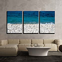 "wall26 - 3 Piece Canvas Wall Art - Capo Bianco Beach, Elba Island. Italy. - Modern Home Decor Stretched and Framed Ready to Hang - 24""x36""x3 Panels"