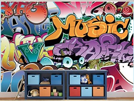 Graffiti Tag Music Teenager Bedroom Wallpaper Wall Mural - 2XL: Amazon.co.uk: Kitchen & Home