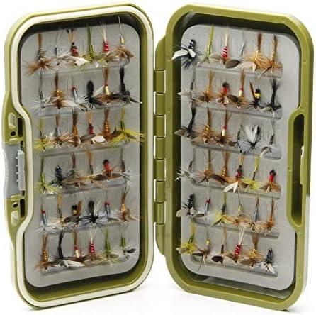 Lakeland - Caja de Pesca Impermeable + 10, 25, 50 o 100 Moscas de ...