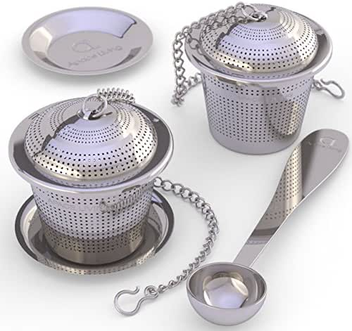 Apace Living Loose Leaf Tea Stainless Steel Strainer (Set of 2) with Tea Scoop and Drip Trays, Medium