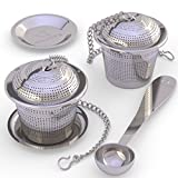 Loose Leaf Tea Infuser (Set of 2)  with Tea Scoop and Drip Trays - Ultra Fine Stainless Steel Strainer & Steeper for a Superior Brewing Experience
