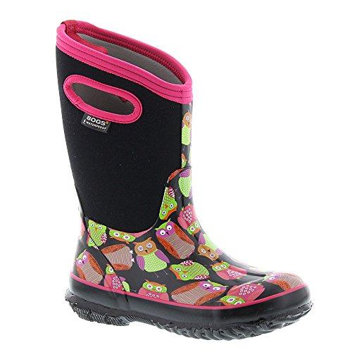Bogs Kids Classic High Waterproof Insulated Rubber Neoprene Snow Boot, Owl Print/Black/Multi, Multi 1 M US Little Kid by Bogs