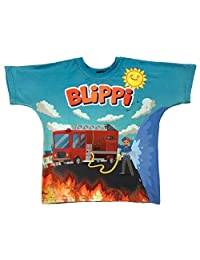 Blippi Child Firetruck Shirt for Kids (2T) Blue and Orange