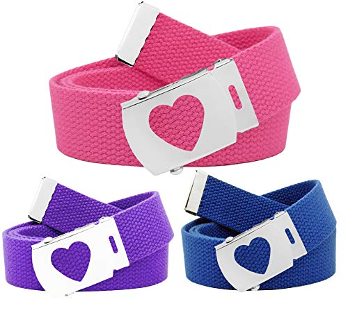 Girl's School Uniform 3 Pack Silver Slider Heart Belt Buckle Canvas Web Belt Medium Purple, Blue Pink