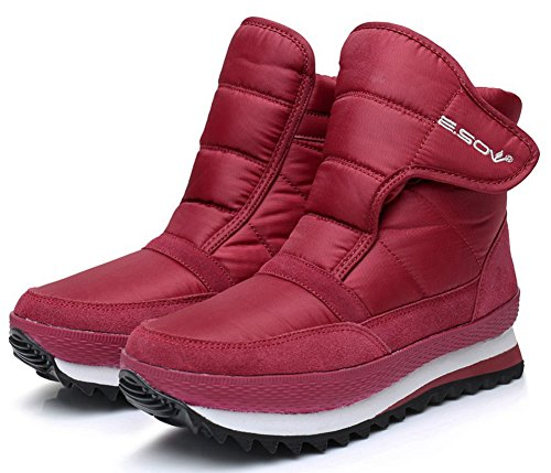 Calf Leather Sneaker (LabatoStyle Men Women Ankle Snow Boots Waterproof Fur- Lining Winter Sneakers High Top Outdoor Shoes)