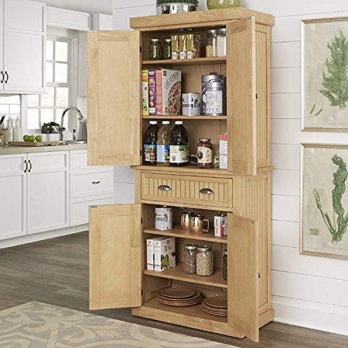 Kitchen Pantry Made of Hardwood Solids and Veneers with Engineered Wood Maple Finish Brushed Nickel Hardware Four Removable and Adjustable Shelves
