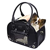 PetsHome Dog Carrier Purse, Pet Carrier, Cat Carrier, Foldable Waterproof Premium Leather Pet Travel Portable Bag Carrier for Cat and Small Dog Home & Outdoor Small Black Larger Image