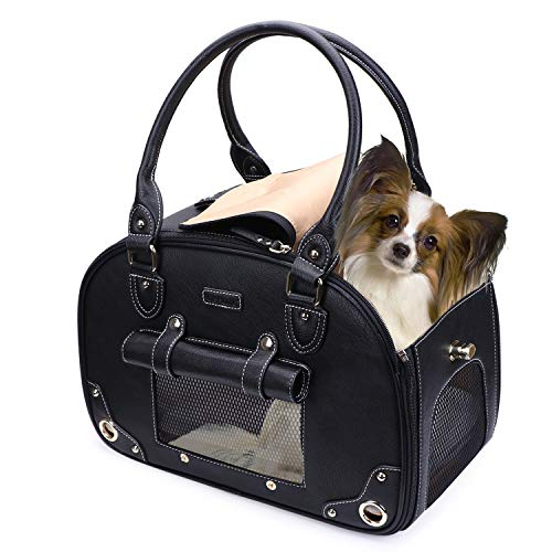 PetsHome Dog Carrier Purse, Pet Carrier, Cat Carrier, Foldable Waterproof Premium Leather Pet Travel Portable Bag Carrier for Cat and Small Dog Home & Outdoor Small Black - Leather Pet Carrier