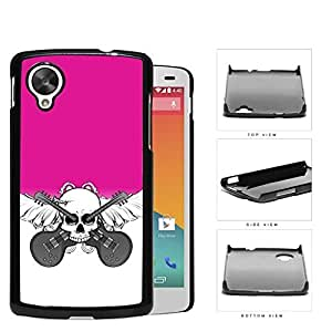 Skull And Acoustic Guitars In Pink Hard Plastic Snap On Cell Phone Case LG Nexus 5