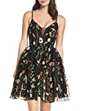 PromC Women Long Floral Prom Homecoming Dresses 2019 Formal Gown Size 16 Black