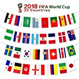 2018 FIFA World Cup Flags,Russia Soccer Football Flag,Extra Large Size 32 Country Flag Bunting 8''x 12'' for Bar Party,Fans,Sport Clubs Decorations