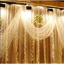Better-love led Window Curtain Icicle Lights String Fairy Light Wedding Party Home Garden Decorations 10m (Warm white)