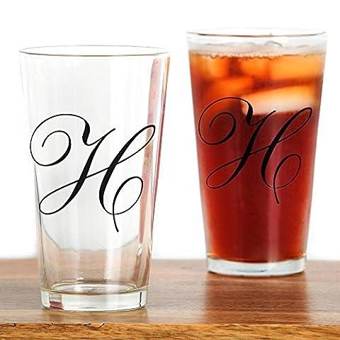 CafePress - H's - Pint Glass, 16 oz. Drinking Glass - Monogram Pint Glass