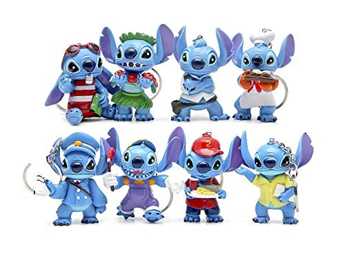 PAPRING Set 8 Lilo Toy 2.5 inch Stitch Movie PVC Action Figure Keychain Disney Cartoon Small Keyring Tiny Pendant Toys Christmas Halloween Birthday Gift Cute Doll Animal Collectible for Kids Adults]()