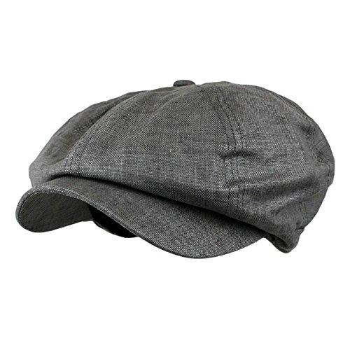 Charcoal Men'S Linen Applejack Cabbie Driving Gatsby Hat Golf Cap Extended Brim]()