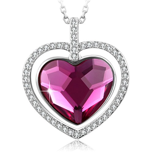 SUE'S SECRET ?Gift Packing Gift for Mom? Swarovski Element Necklace Love You Forever Blessed Heart Necklace with Swarovski Crystals, 18