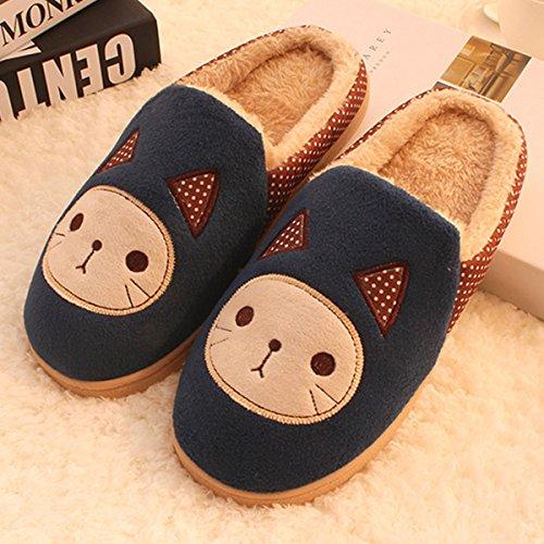 Y-Hui cálido invierno un par de zapatillas de algodón y zapatillas de casa con la mitad de un paquete de deslizamiento,42-43 hombres /290mm,Azul marino