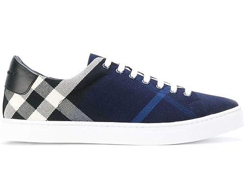 bb5fe51b8b Burberry Sneakers Scarpe Uomo in Tessuto e Pelle Modello 4054042 Blu ...
