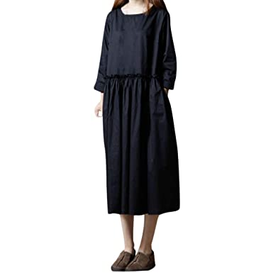 b6a9136c073 AMSKY❤ Plus Size Maxi Dress Women s Long Sleeve Solid Cotton and Linen  Loose Long Dress at Amazon Women s Clothing store