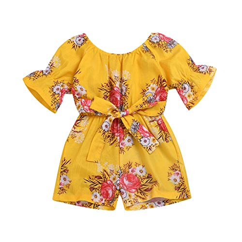 Huifa Baby girl Short Sleeve Off Shoulder Bodysuit Children Floral Printed Romper Jumpsuit (Yellow,3-4 Years/120)