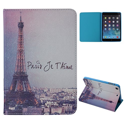 DAMINFE iPad Mini / Mini Retina / Mini 3 Case,Eiffel Tower Paint PU leather Wallet Case for iPad Mini / Mini Retina / Mini 3,Eiffel Tower Luxury Folio Book Case (Eiffel Bookcase Stand)