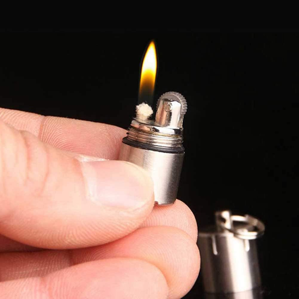 molienda gasolina rueda encendedor herramientas al aire libre oro AMOLEY Mini encendedor compacto de queroseno c/ápsula de gasolina encendedor inflado llavero encendedor