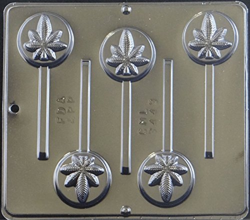 (Candy Molds N More Marijuana Leaf Pot Leaf Lollipop Plastic Chocolate Candy Mold Canibus 3443)