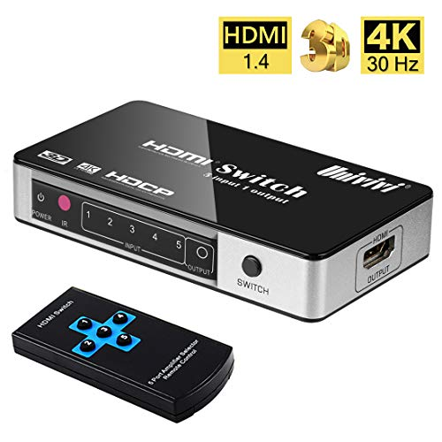 Univivi HDMI Switch 4K 5 Port 5x1 HDMI Switcher Splitter Box Support 4Kx2K Ultra HD 3D with Remote Control and Power Adapter