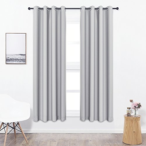 Colokey Shade Insulation Curtain For Bedroom Living Room Balcony Curtain,Silver Gray,52x84-inch,1 (Elegance Night Light)