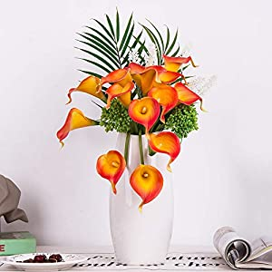 YUYAO Calla Lily Artificial Flowers Bridal Wedding Bouquets Latex Real Touch Lillies Flower Arrangements for Home Party (03, Sunset) 1