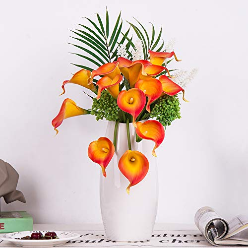 YUYAO Calla Lily Artificial Flowers Bridal Wedding Bouquets Latex Real Touch Lillies Flower Arrangements for Home Party (03, Sunset) -