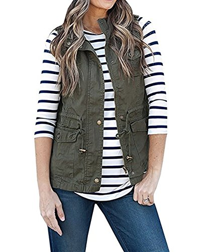 Ruanyu Women's Sleeveless Lightweight Military Stretchy Drawstring Jacket Vest with Zipper (Army Green, Small) by Ruanyu (Image #3)