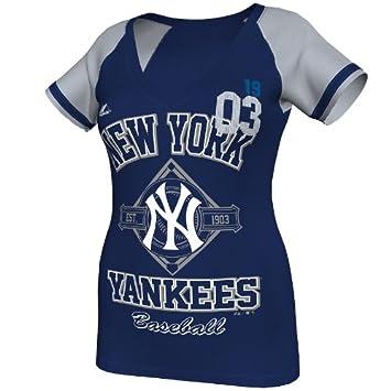 Majestic MLB New York Yankees mujeres de este es mi ciudad camiseta, navy heather/