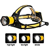 TOTOBAY Headlamp, 3 Modes Super Bright LED Headlamp Handy Zoomable Flashlight Helmet Light Upgraded Headlights for Camping, Running, Fishing, Hiking, 4X AA Battery (not included)